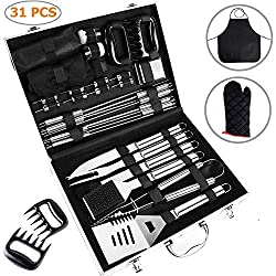 Ohuhu Bbq Tools Set 31 Piece Grill Tools Set Heavy Duty Stainless Steel Barbecue Grilling Utensils With Aluminium Case Grilling Accessories For Barbecue