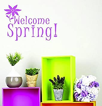 Design with Vinyl JER 548 3 Welcome Spring! Vinyl Wall Decal, 20' x 40', Pink