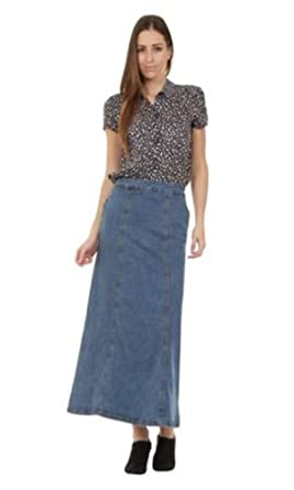 Long Denim Skirt - Stonewash Maxi Skirt Full Length Denim Skirt ...