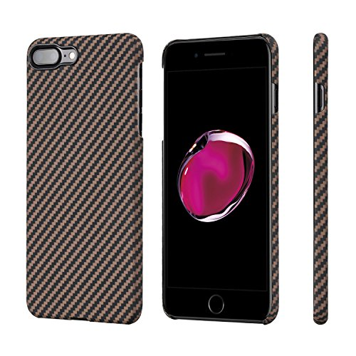 PITAKA Slim Case Compatible with iPhone 8 Plus/7 Plus 5.5, Aramid Fiber [Real Body Armor Material] Phone Case,Minimalist Strongest Durable Snugly Fit Snap-on Case - Black/Golden