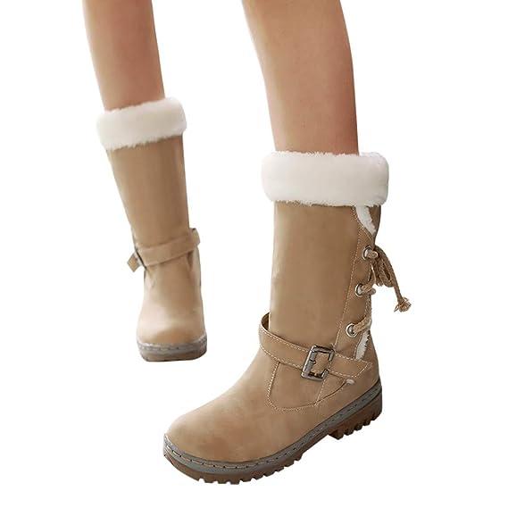 JiaMeng-Botas Mujer Ante Botas de Invierno Media Pierna de Mujer Clásicos Botas de Nieve Moda Tacones Planos Zapatos de Invierno Botas de Piel cálida: ...