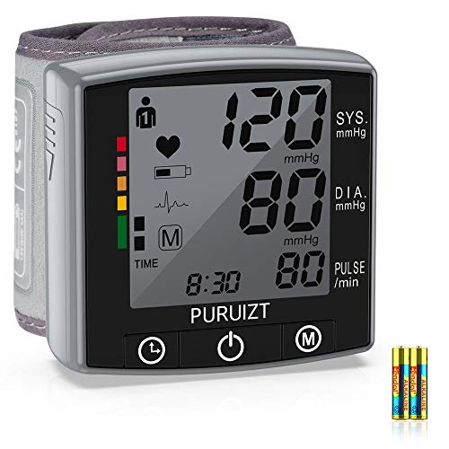 Wrist Blood Pressure Monitor, Puruizt Accurate Automatic Digital Blood Pressure Machine with Portable Carrying Case, Large Display and 2×120 Readings Memory Dual Users Mode for Home Use