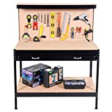 Wakrays Work Bench Tool Storage Steel Frame Tool Workshop Table With Drawers and Peg Boar
