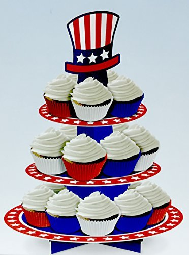 Stars and Stripes Patriotic Fourth of July Red, White, and Blue USA 3 Tier Cupcake Stand