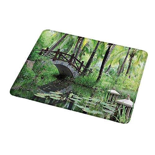 Custom Mouse Pad Gaming Mat Zen Garden,Green Landscape in South China Palm Trees and Bushes Lush Growth Nature,Green Grey Brown,Custom Design Gaming Mouse Pad 9.8