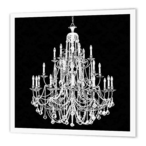 3dRose ht_164675_3 Chic White Chandelier with Black Damask Iron on Heat Transfer Paper for White Material, 10 by 10'