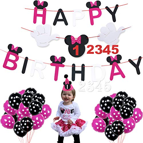 Minnie Mouse Happy Birthday Decorations Pack, Minnie Mouse Cute Baby Birthday Hat Happy Birthday Banner for Baby Shower Baby Birthday Party Supplies]()