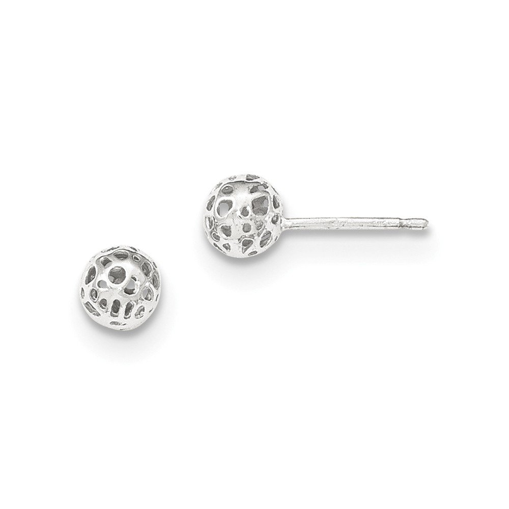 14K White Gold Small Fancy Ball Post Earrings by Unknown