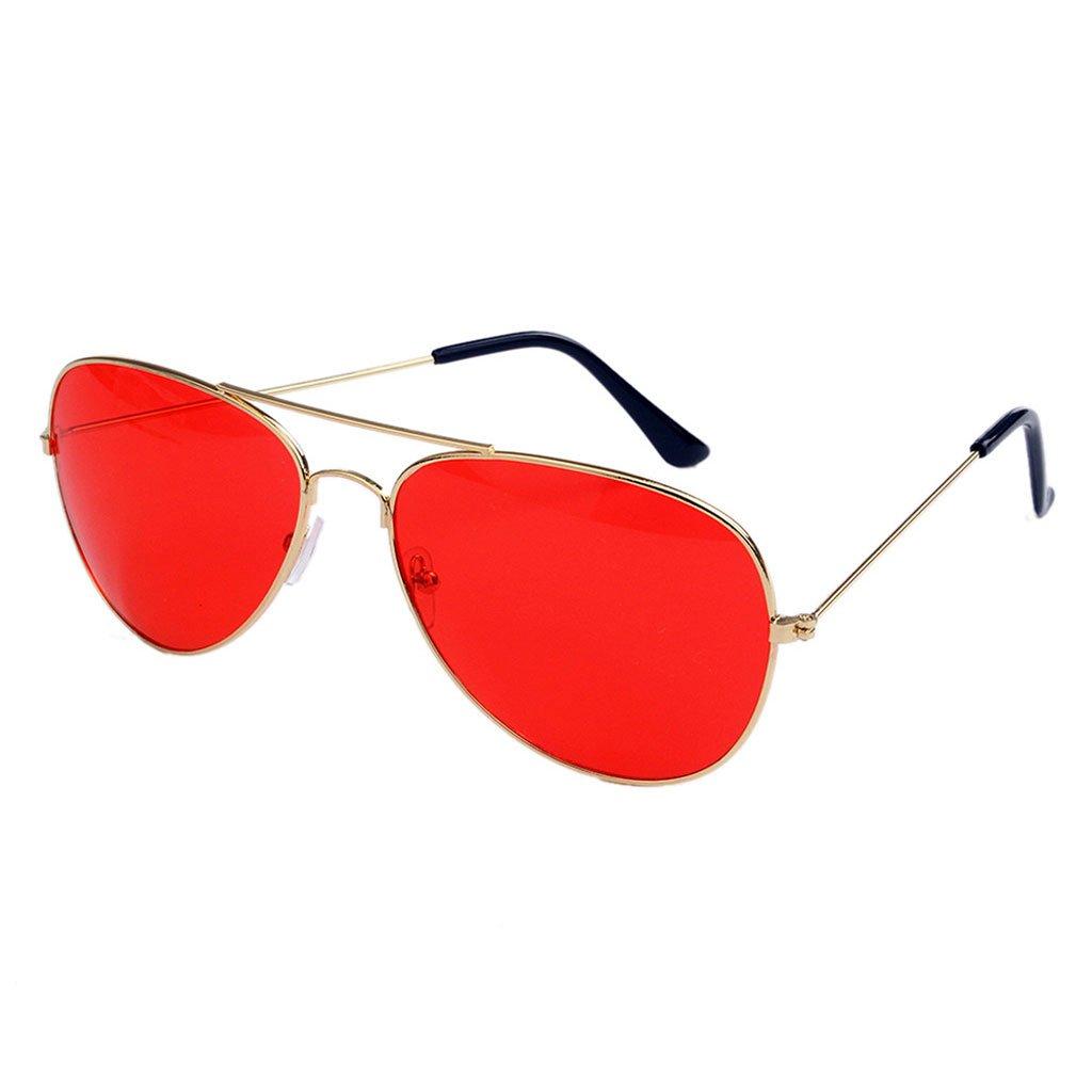 Hukaiパイロットサングラスイエローレッドカラーレンズファッション眼鏡Bigミラー反射  E B07BN9B8QS
