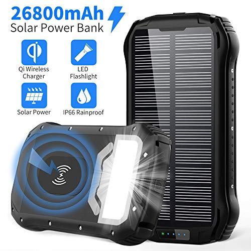 GRDE Cargador Solar 26800mAh Solar Power Bank Carga Rapida Tipo-C,QI Carga Inalámbrico 4 Modo Iluminación 18 LED para…