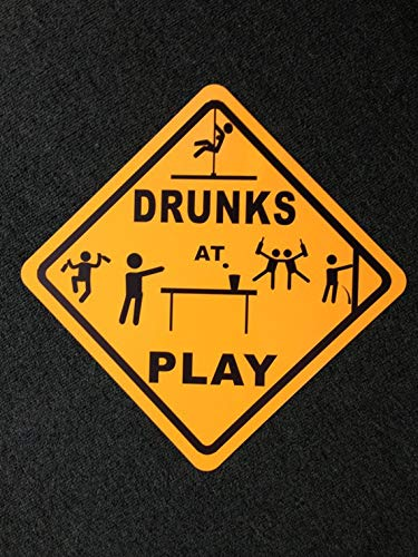 Fhdang Decor Drunks at Play Metal Sign Caution Funny Stripper Beer Pong Drunk Party Dancing Signs, 12