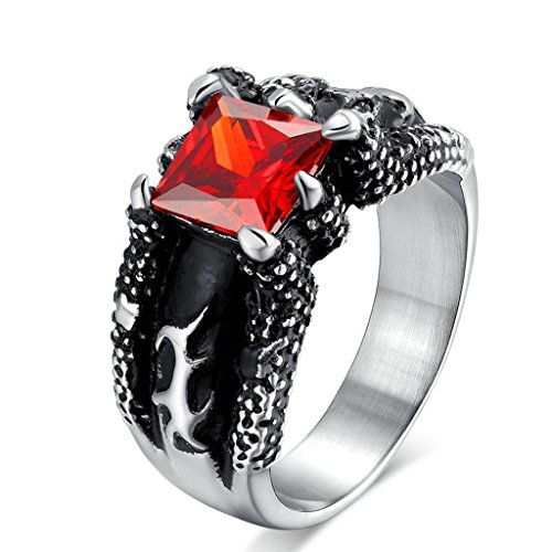 Male Ringleader Costume ((Free Engraving)Adisaer Stainless Steel Rings for Men Women Gothic Ruby Ring 12MM Width Red CZ Size 10)