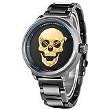 Men's Golden 3D Skull Quartz Wrist Watch Stainless Steel Strap Big Dial Steampunk Unique Luxury Christmas Gift