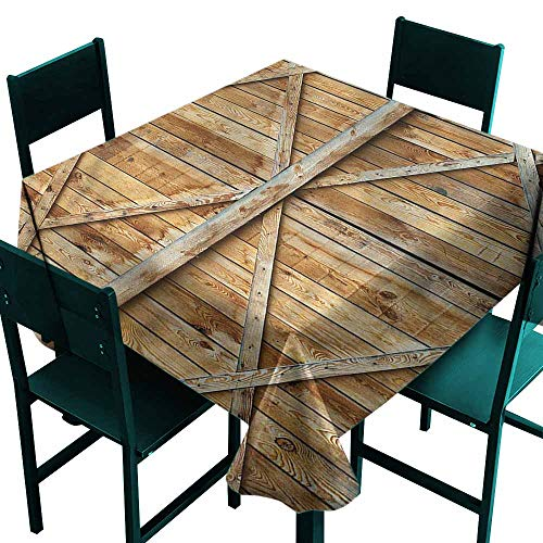 (DONEECKL Dust-Proof Tablecloth Rustic Wooden Timber Door Plank Great for Buffet Table W50 xL50)