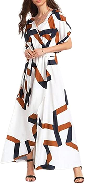 137dbe52738 Aofur Plus Size Womens V Neck Evening Party Long Skirt Summer Beach Maxi  Dress (Small