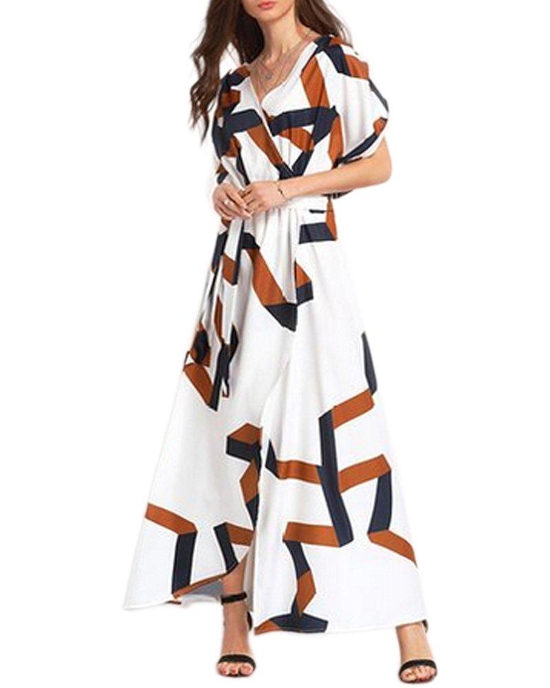 Aofur Plus Size Womens V Neck Evening Party Long Skirt Summer Beach Maxi Dress (XXX-Large, White)