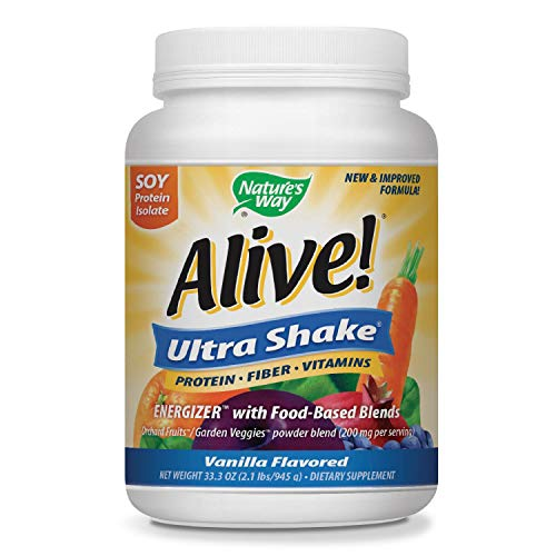 Premium Nutrition Shake (Nature's Way Alive! Soy Protein Shake, Includes Vitamins, Fiber and Food-Based Blends (1,150mg per serving), Vanilla Flavor, 27 Servings)