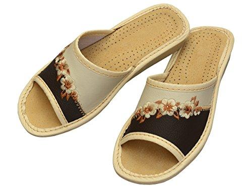 Bawal - Zapatillas de estar por casa de Piel para mujer marrón beige