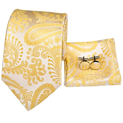 (Hi-Tie New Arrival Mens Gold Paisley Tie Necktie Pocket Square and Cufflinks Tie Set Gift Box)