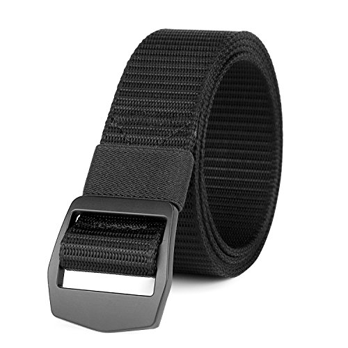 WERFORU Nylon Belts for Men 1.5 Inches Wide Outdoor Military Tactical Web Belt Breathable Soft and Durable Webbing Waist Belt with Black Metal Buckle (Pants Size Below 42