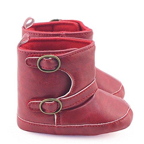 Hunpta Kleinkind Neugeborene Baby Mädchen Kinderbett Stiefel Soft Sole Prewalker Warme Martin Schuhe Rot