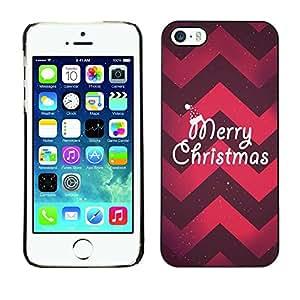Caucho caso de Shell duro de la cubierta de accesorios de protección BY RAYDREAMMM - Apple iPhone 5 / 5S - Christmas Chevron Red Purple Xmas