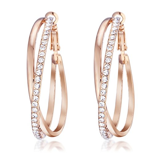 Gemini Ladies Jewerly Rose Gold Plated Big Round Hoop Swarovski Crystal Pierced EarringsGm032Rg , Size: 5cm Color: Rose Gold