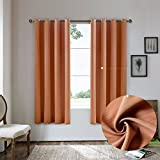Cheap Nicasso Natural All Blackout Vertical Stripe Grommet Single Curtain Panel Thermal Insulated Solid Window Drapery(Orange,W52 x L95)