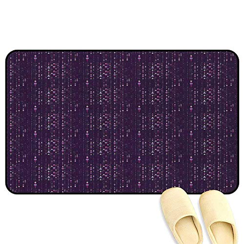 homecoco Abstract Non-Slip Standing Mat Dotted Pattern of Many Size Abstract Illustration with Purple Tones Dark Purple Lilac Fuchsia Decorative Floor Mat W16 x L24 INCH