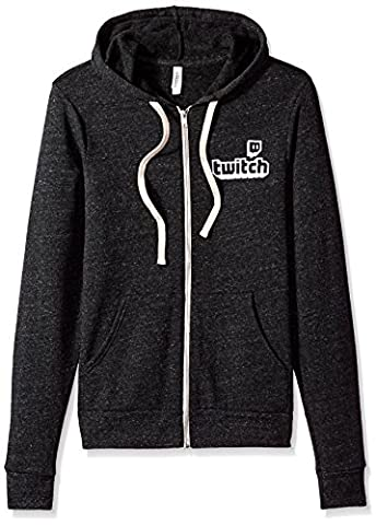 Twitch Logo Unisex Full Zip Hoodie (Medium, Grey) - Apparel