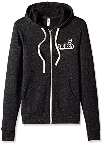 Twitch Logo Unisex Full Zip Hoodie (Large, Grey) by Twitch