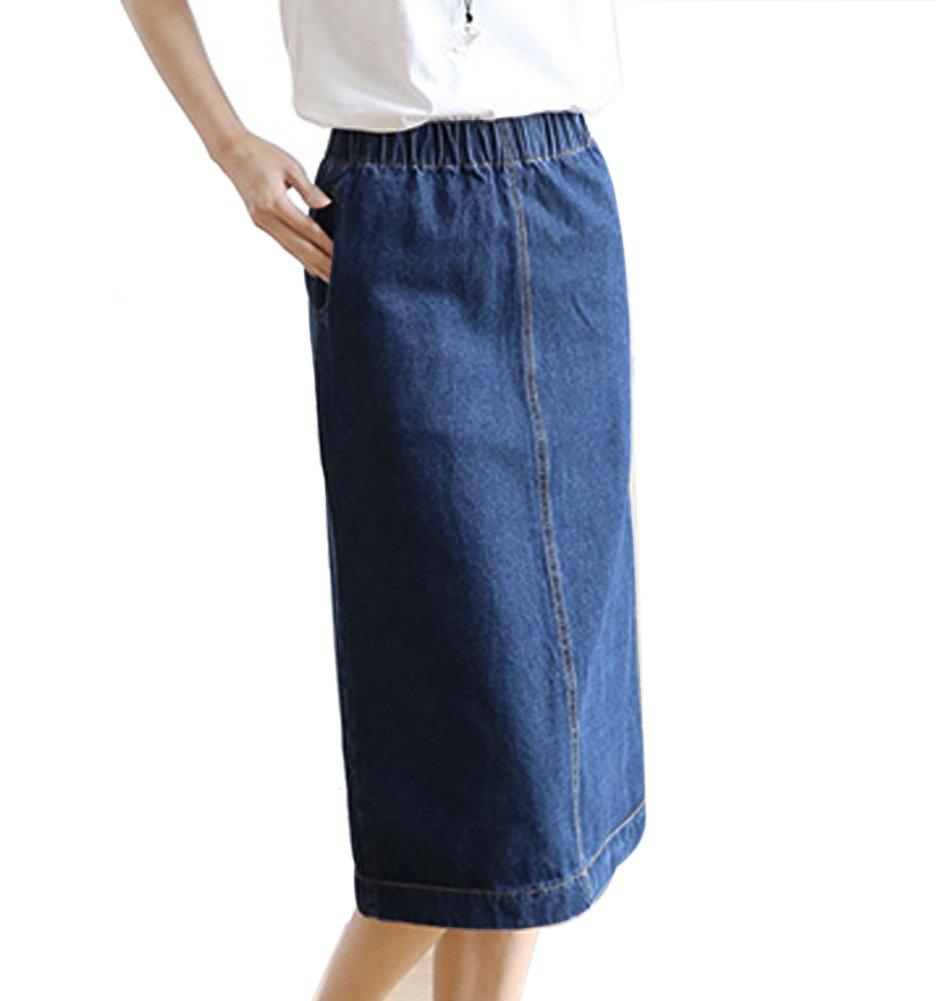 Womens Elastic High Waist Jean Denim Midi Pencil Skirt Blue CC-1452-BUM (M)