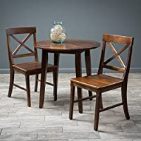 Potter Dining Furniture ~ 3pc Mahogany Stained Wood Round Table Dining Set