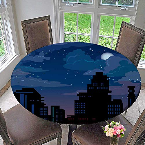 PINAFORE HOME Round Table Tablecloth with Night City on Blue Sky with Stars and Moon for Wedding Restaurant Party 47.5