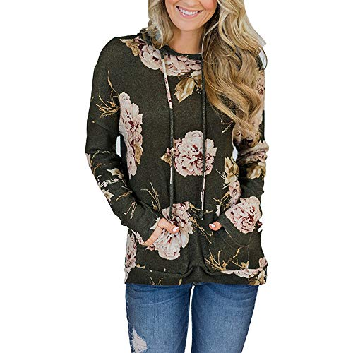 for Women Army Women Women for Caps Ladies Sweatshirts Casual VEMOW Sweatshirts Pulling Women Flower Printing Green for Rope Tops Pocket wqIUntTaO