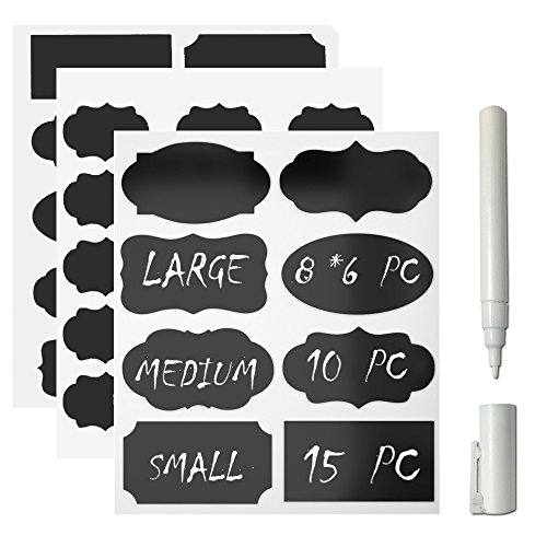 Giveet Chalkboard Label and White Chalk Marker, 73 Pack Premium Reusable Chalkboard Stickers with 3MM White Chalk Marker For Home Office School - Round White 5161