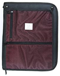 Top Flight Titanium Zipper Binder with 1.5 Inch Slant D-Rings, Foldout Pouch, CD Carrier and Interior File Pocket, 13.5 x 11 Inches, 1 Binder, Black/Red (4511491)