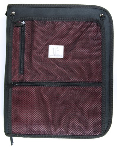 Top Flight Titanium Zipper Binder with 1.5 Inch Slant D-Rings, Foldout Pouch, CD Carrier and Interior File Pocket, 13.5 x 11 Inches, 1 Binder, Black/Red (4511491) by Top Flight (Image #3)