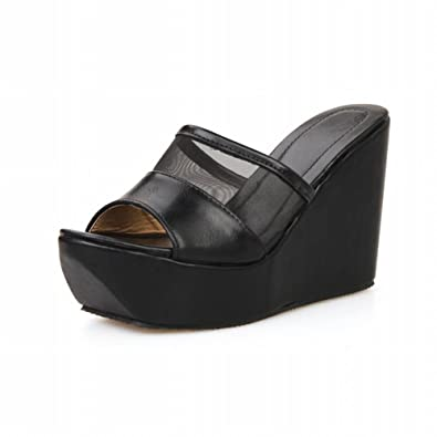 Latasa Womens Fashion Simple Mesh Opentoe Platforms Sandal  Wedge Sandal  Slides Sandals  B00X749PZW