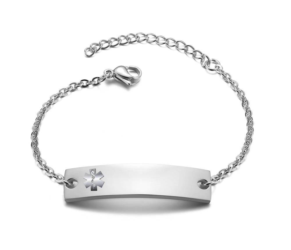 Personalized Bar Engraved Custom Free Engraving Medical Alert ID Bracelet for Women Girl,Adjustable