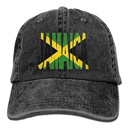 Jamaica Text with Jamaican Flag Dad Hat Adjustable Denim Hat Classic Baseball Cap Black Vinyl Newsboy Hat