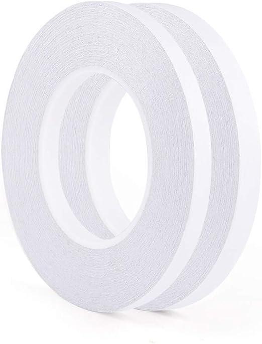 FEPITO 2 Pack Cinta adhesiva de doble cara adhesiva fuerte Cinta adhesiva de coser 9 mm y 12 mm de ancho para Office / Craft / Sewing, 35 metros por rollo: Amazon.es: Hogar