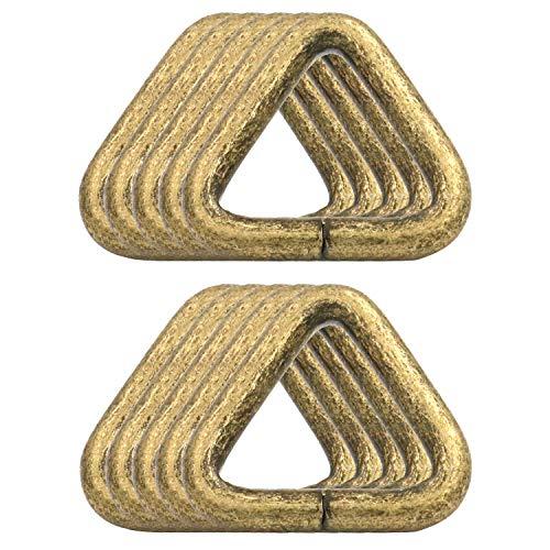 BIKICOCO 4/5'' Metal Triangle Ring Buckle Connectors Non Welded Round Edge Webbing Bag Clasp Handbag Strap Making Hardware, Bronze - Pack of 10