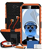 Vodafone Smart Platinum 7 Orange Shock Proof Rugged Hard Case with Viewing Stand - LCD Screen Protector - Retractable Mini Stylus Pen - 3.5mm ZIPPER Stereo Hands Free HeadPhones with Mic