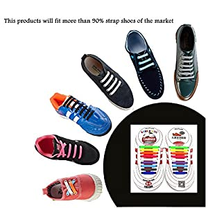 LattoGe Update No Tie Shoelaces For Kids Adults Silicone Flat Elastic Sports Fan Shoe Laces for Athletic Dress Casual Shoes Boots Board Sneakers Running Football (Black, Kids-18pcs)