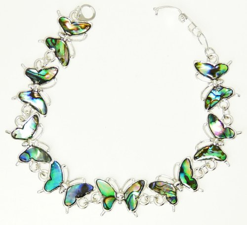 Beautiful Natural Abalone Paua Shell Butterfly Silver Colour Bracelet In