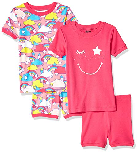 Spotted Zebra Kids 4-Piece Snug-Fit Cotton Pajama Short Set, Pink Rainbow Small (6-7)