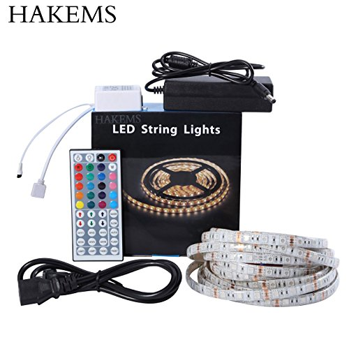Hakems TM Led Strip Lights Kit, 5M Waterproof 5050 SMD RGB LED 44 Key Remote Controller Flexible Strip Colour Changing Lights 300 leds strip Kit For Lightning or (5050 Smd Led)