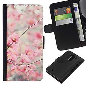KLONGSHOP // Tirón de la caja Cartera de cuero con ranuras para tarjetas - Bloom flores de cerezo Manzano - LG G3 //