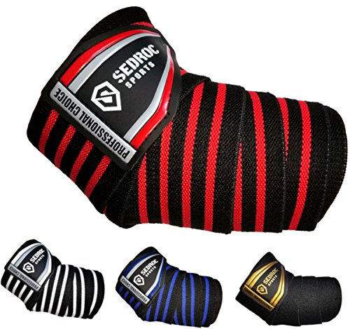Sedroc Sports Professional Weight Lifting Elbow Wraps Powerlifting Support Sleeves - Pair (Black/Red)